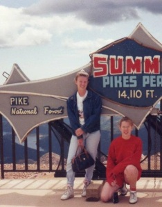 "HeeHee Marie and Joy, aka ""Surprise,"" at the pinnacle of Pike's Peak, circa 1992"