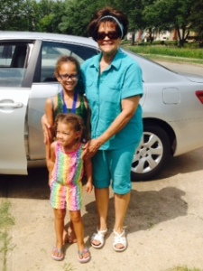"Dolores ""Pookie"" Wright with two of her granddaughters"