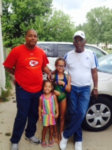 """Wilbur """"Spanky"""" Wright on the right with son Steve and two granddaughters"""